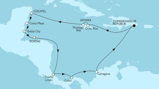 Mein Schiff 1 Route: Mittelamerika