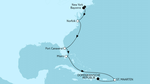 Mein Schiff 1 Route: New York bis Dominikanische Republik II