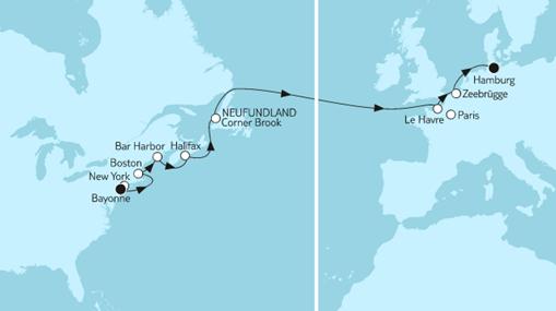 Mein Schiff 1 Route: New York bis Hamburg