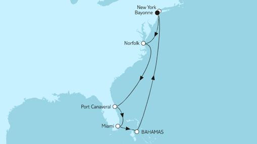 Mein Schiff 1 Route: New York mit Bahamas