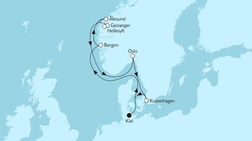 Mein Schiff 1 Route: Norwegen mit Geirangerfjord
