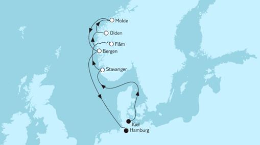 Mein Schiff 1 Route: Norwegen mit Molde