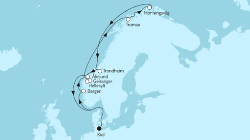 Mein Schiff 1 Route: Norwegen mit Nordkap
