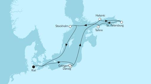 Mein Schiff 1 Route: Ostsee mit St. Petersburg & Danzig