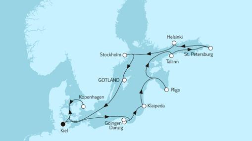Mein Schiff 1 Route: Ostsee mit St. Petersburg & Klaipeda