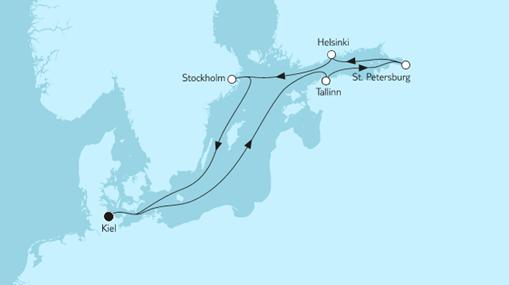 Mein Schiff 1 Route: Ostsee mit St. Petersburg
